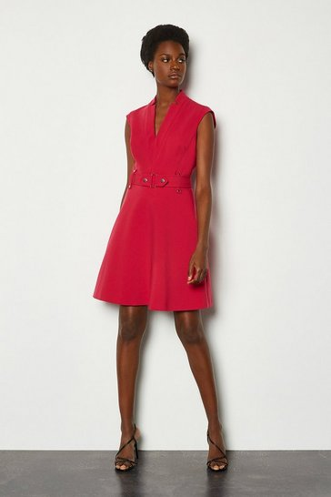 Pink Forever Cinch Waist Cap Sleeve A Line Dress