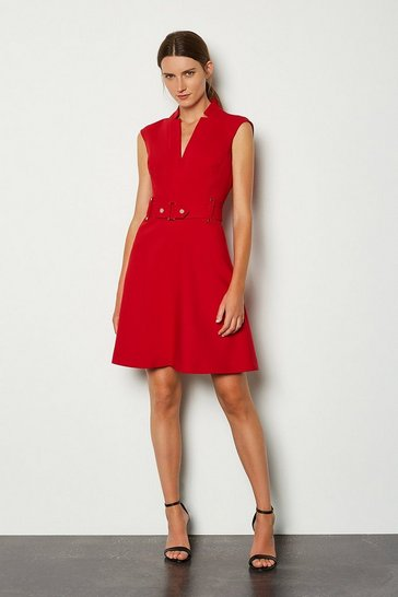 Red Forever Cinch Waist Cap Sleeve A-Line Dress