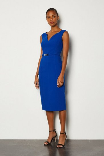 Blue Forever Bar Belt Cap Sleeve Dress