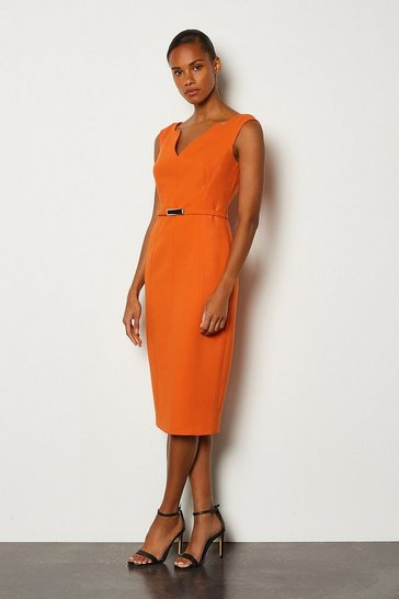 Orange Forever Bar Belt Cap Sleeve Dress