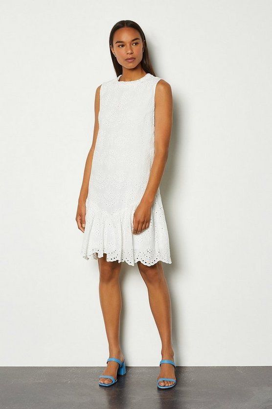 White Cotton Voile Embroidery Dress