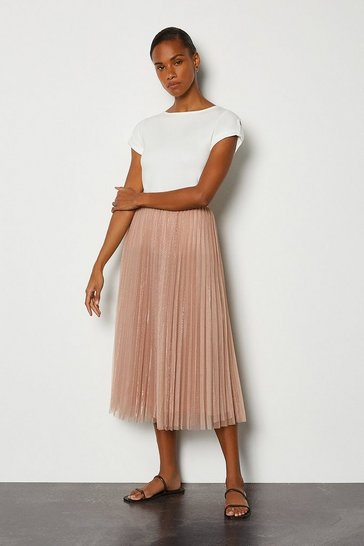 Beige Tulle Pleated Midi Skirt