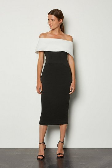 Black Scuba Bardot Dress