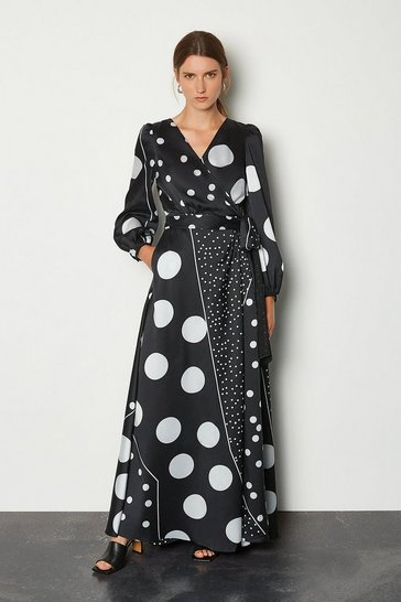 Black Spot Print Wrap Dress