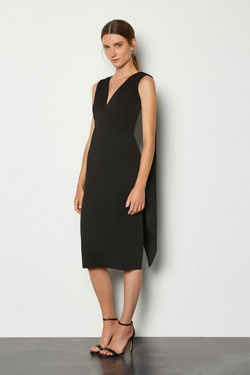 Black Drape Back Midi Dress