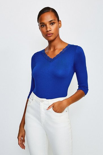 Cobalt Lace Trim T-Shirt