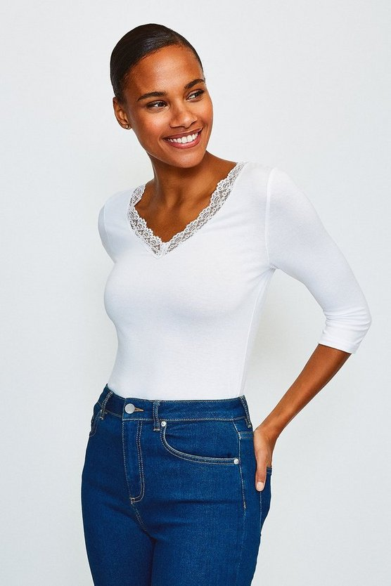 Ivory Viscose Jersey Lace Trim T-Shirt