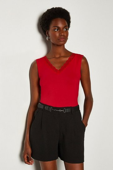 Red Viscose Jersey Lace Trim Vest