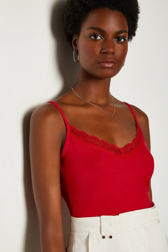 Red Viscose Jersey Elastane Lace Trim Vest