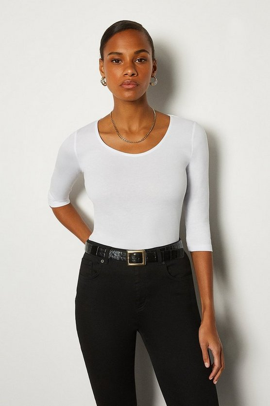 White Cotton Jersey 3/4 Sleeve Scoop Neck T-Shirt