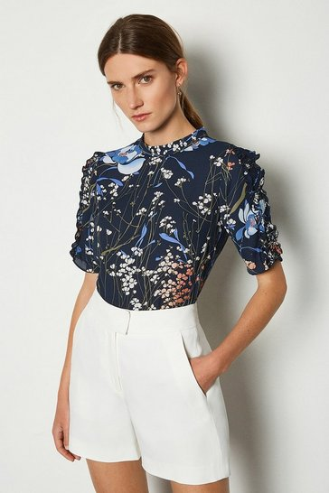 Floral Dark Meadow Print Top