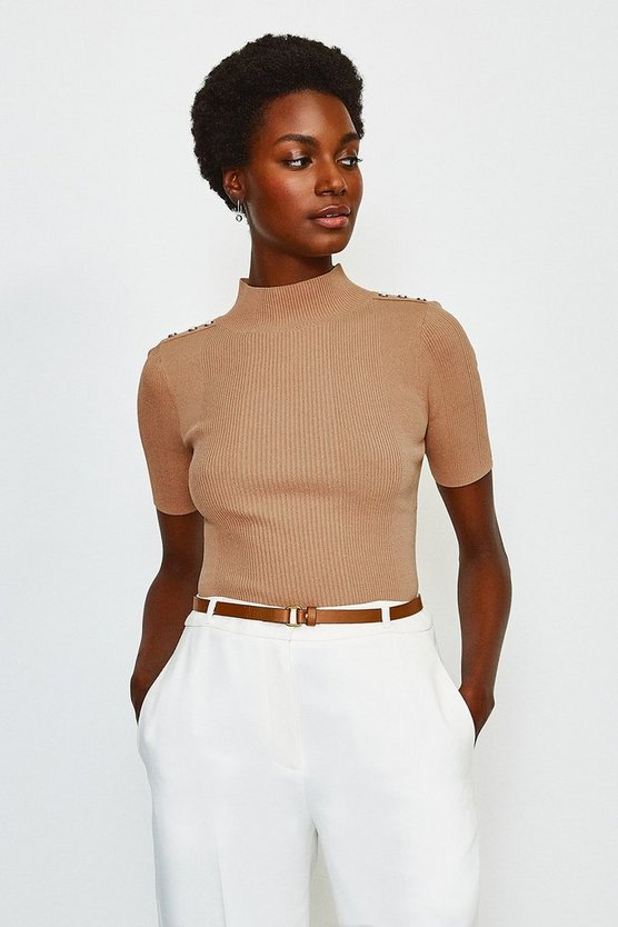 Camel Short Sleeve Rivet Detail Rib Knitted Top