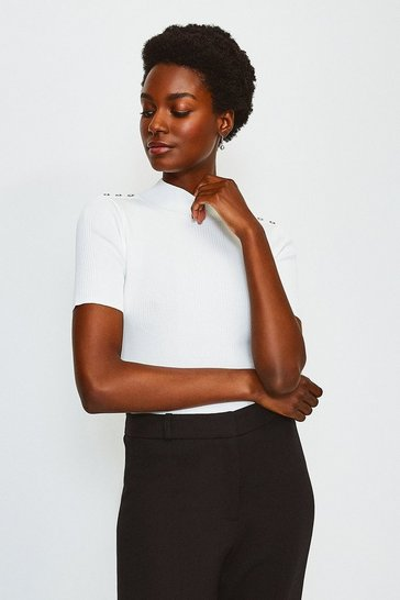 Ivory Short Sleeve Rivet Detail Rib Knitted Top