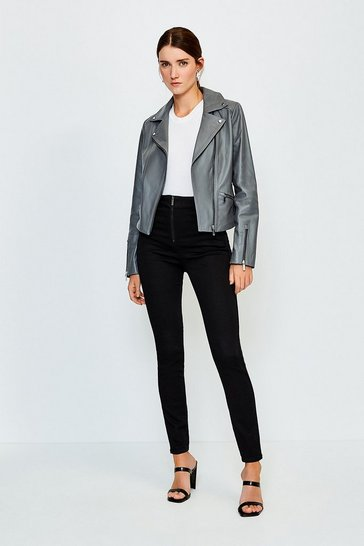 Black Zip Front Button Detail Jean