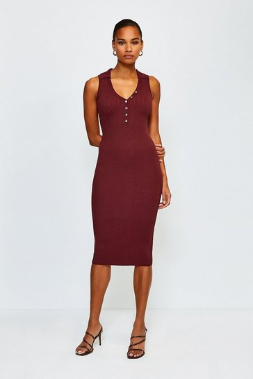 Rust Rib Knitted Collar Dress