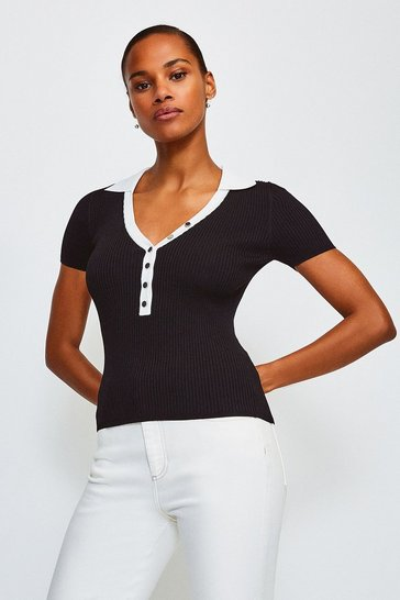 Blackwhite Rib Knitted Collar Top