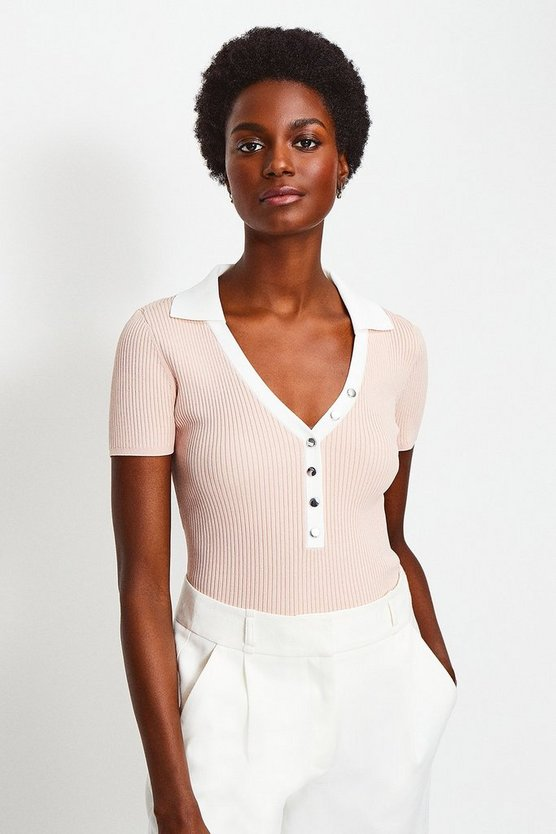 Blush Rib Knitted Collar Top