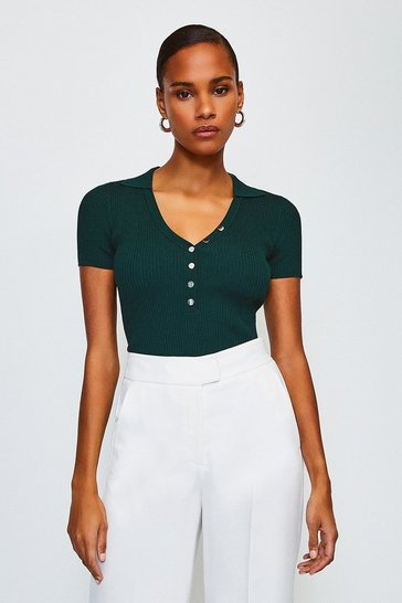Dark green Rib Knitted Collar Top