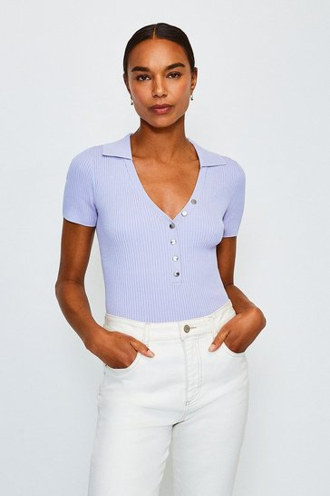 Pale blue Rib Knitted Collar Top