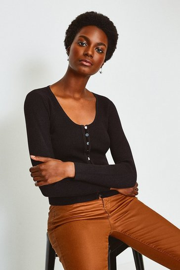 Black V Neck Button Through Cardigan