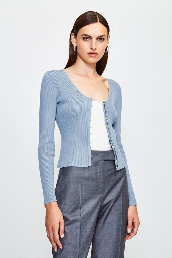 Blue V Neck Button Through Cardigan