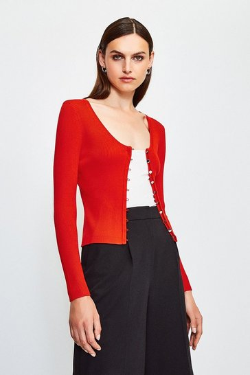 Red V Neck Button Through Cardigan