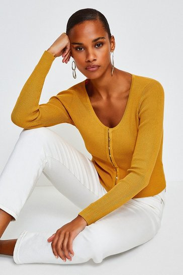 Yellow V Neck Button Through Cardigan