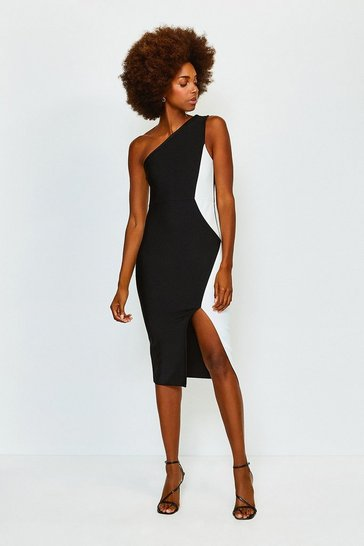 Blackwhite Mono One Shoulder Bandage Dress