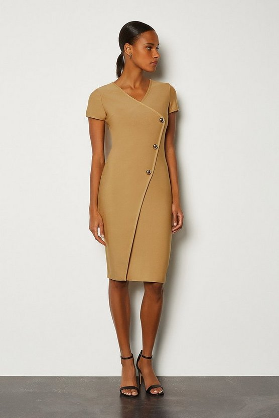 Camel Cap Sleeve Military Button Knitted Dress