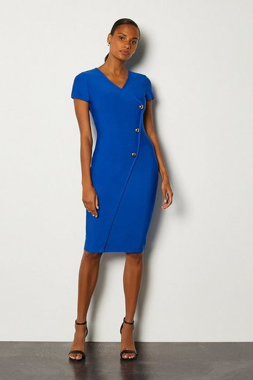 Cobalt Cap Sleeve Military Button Knitted Dress
