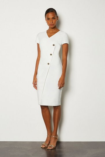 Ivory Cap Sleeve Military Button Knitted Dress