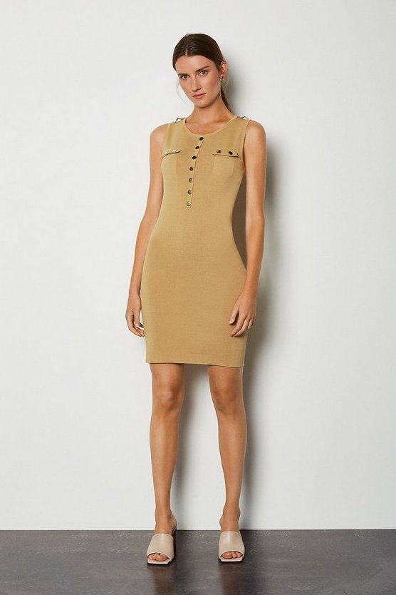 Camel Gold Button Sleeveless Knitted Dress