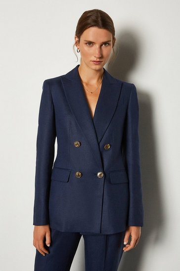 Navy Italian Linen Double Breasted Jacket