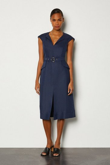Navy Italian Linen Envelope Neck Dress