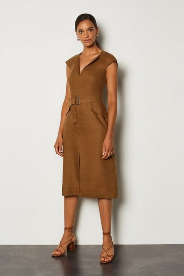 Tobacco Italian Linen Envelope Neck Dress