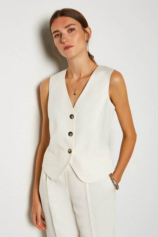 Cream Linen Blend Waist Coat