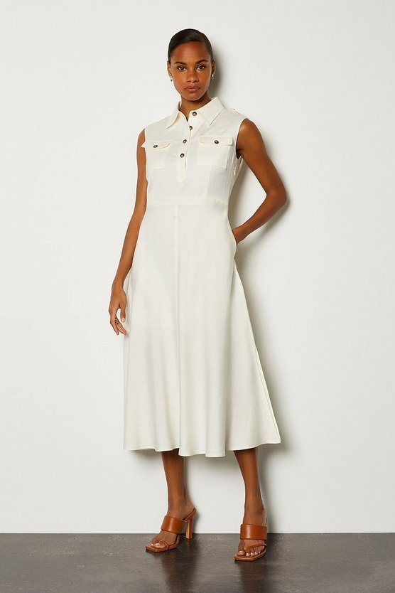 Cream Linen Blend Button Through Utility Dress