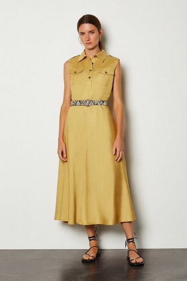 Mustard Linen Blend Button Through Utility Dress