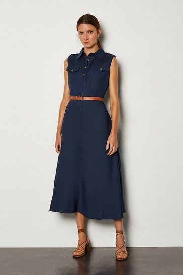 Navy Linen Blend Button Through Utility Dress