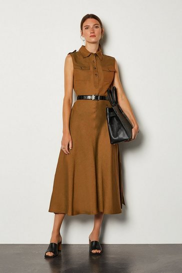 Tobacco Linen Blend Button Through Utility Dress