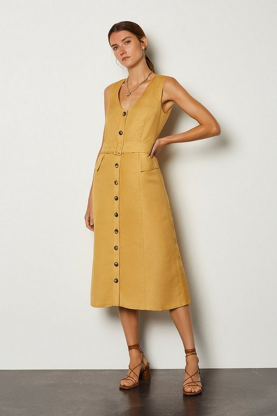 Mustard Linen Blend Belted Button Through Dress