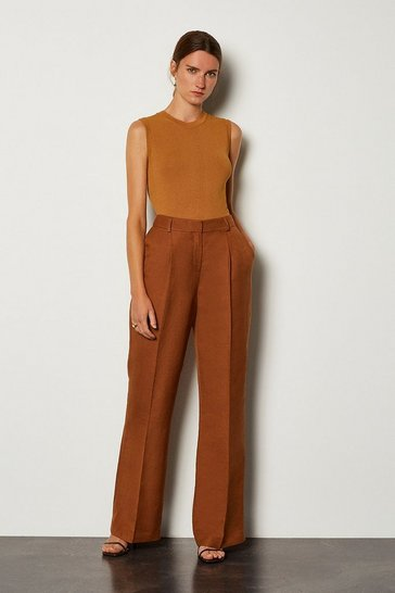 Tobacco Linen Blend Tuck Detail Trouser