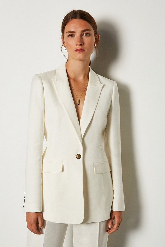 Ivory Linen Blend Single Breast Jacket