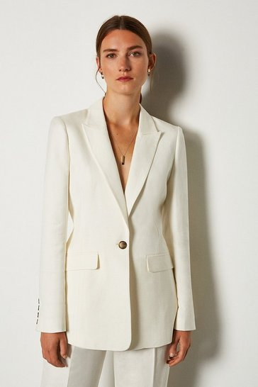 Cream Linen Blend Single Breast Jacket