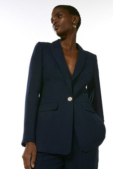 Navy Linen Blend Single Breast Jacket
