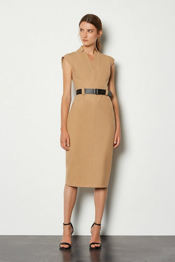 Camel Forever Cap Sleeve Dress