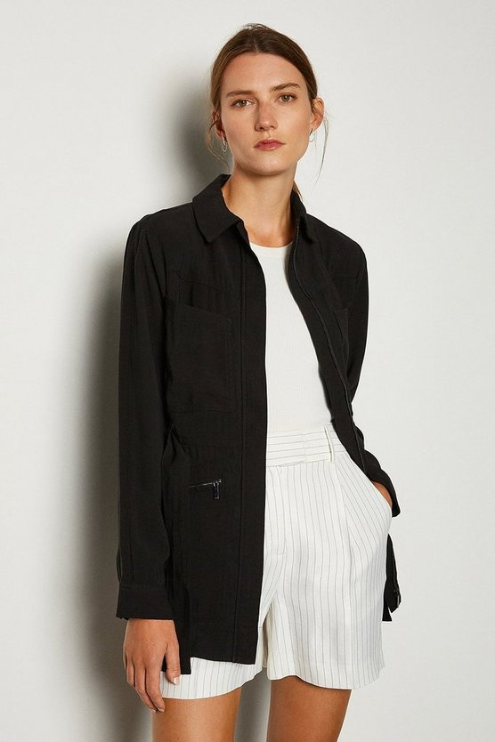 Black Collared Detail Jacket