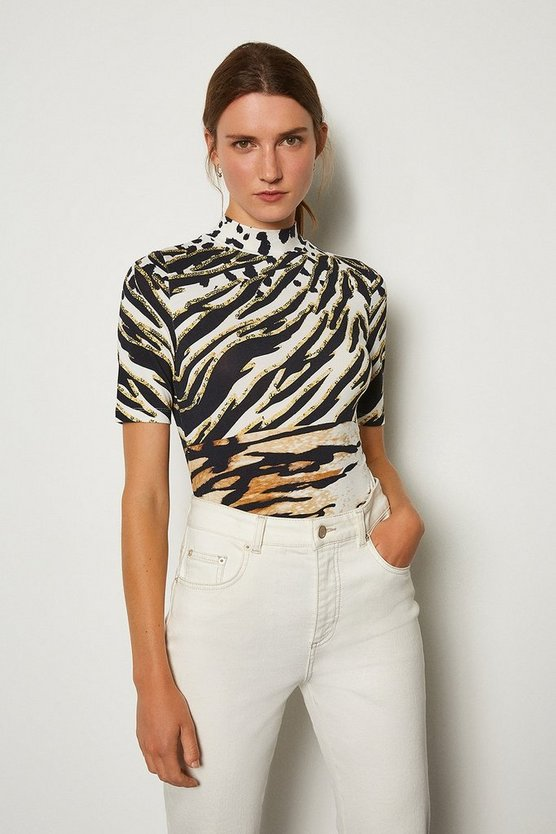 Cream Viscose Elastane Print Funnel Short Sleeve Top