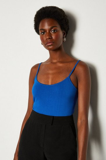Blue Basic Strappy Jersey Cami