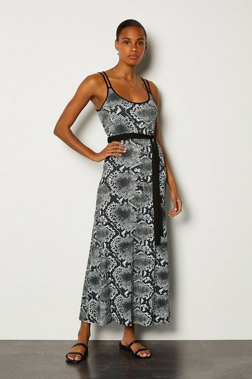Snake Printed Tie Waist Jersey Maxi Dress